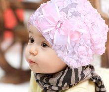 schönes baby Kind hut spitze blume Frühjahr und Herbst wintermütze pullover Haufen von 45g hut(China (Mainland))