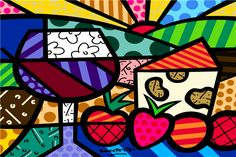 Wine and Cheese pop-art by Romero Britto Painting For Kids, Painting On Wood, Art For Kids, Psychedelic Art, Mondrian, Graffiti Painting, Wine Art, Kandinsky, Fantastic Art