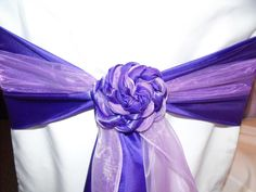 Royal Purple and Lilac Organza Rose Design on White Chair Covers