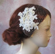 Ivory Birdcage Veil and Lace Bridal Fascinator, Vintage Style Bandeau Birdcage Wedding Veil and Lace Hair Clip - GUINEVERE on Etsy, $66.00