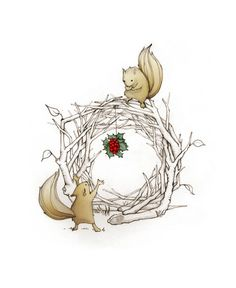 Holiday Christmas Squirrel Holly Wreath handmade cards by CatherineLazarOdell.