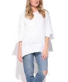 fc7d56e727e La Fabrique du Lin White Linen Bell-Sleeve Top - Women