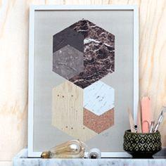 Brown Hexagon Print  collage idea