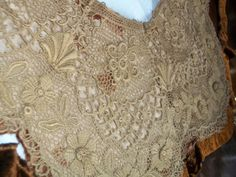 SALE TREASURY ITEM Absolutely Amazing Estate Find Large Dimensional 1800s Antique Vintage French Lace Collar