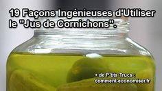 Ça y est, vous avez mangé le dernier cornichon du bocal. Il ne vous reste plus qu'un bocal avec plein de marinade pour cornichons. Voici les 19 meilleures utilisations de la marinade des cornichons :-) Découvrez l'astuce ici : http://www.comment-economiser.fr/utilisations-jus-de-cornichons.html?utm_content=bufferd9795&utm_medium=social&utm_source=pinterest.com&utm_campaign=buffer