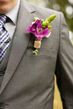 a bright wedding boutonniere of a wine cork piece and bright pink and green blooms looks chic - Weddingomania Wine Cork Wedding, Wedding Bells, Wedding Boutonniere, Floral Wedding, Diy Wedding, Wedding Ideas, Fall Wedding, Wedding Stuff, Wine Corks