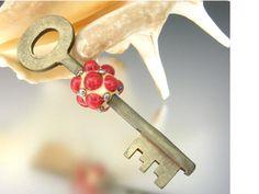 KILLERBEEDZ1  Red  Skeleton Key With Bead by killerbeedz1 on Etsy, $30.00