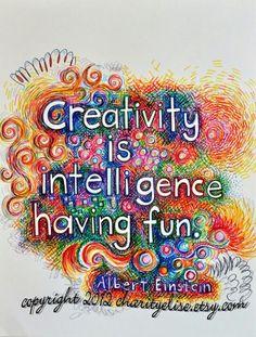 "Brightly Colored Art Print- ""Creativity is Intelligence Having Fun"" - Albert…"