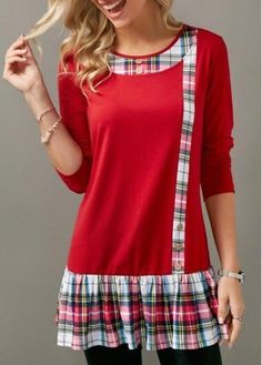 Stylish Tops For Girls, Trendy Tops, Trendy Fashion Tops, Trendy Tops For Women Trendy Tops For Women, Blouses For Women, Women's Blouses, Sewing Clothes, Diy Clothes, Ladies Clothes, Clothes Shops, Cheap Clothes, Umgestaltete Shirts