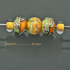 calima n.12  - set of 5 pcs handmade lampwork beads
