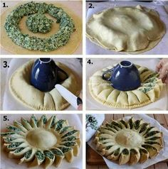 DIY Delicious Spinach Pie - delicious things to bake , cook and eat Sunny Spinach Pie Recipe, Spinach Dip, Spinach Bread, Spinach Lasagna Rolls, Bread Art, Good Food, Yummy Food, Cool Art Projects, Diy Projects