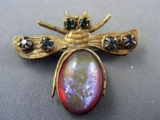 Antique Victorian Early 1890's Saphiret Glass Insect Bug Brooch