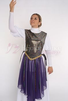 Tabernacle Ephod with Long Skirt and Strips - Praise & Worship Dance Wear