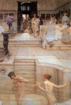 Alma-Tadema - A Favorite Custom, 1909 - A FAVORITE CUSTOM Here, in the cool ambience of the Roman bath, Alma-Tadema is able to delight those who cherish the classical way of life, while, with perfect propriety, introducing the theme of the nude.