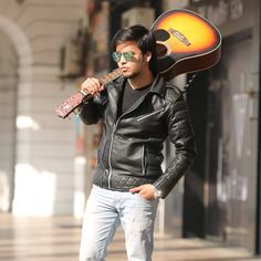 ollow your dream at least once in a life time #oldpicture #leatherjacket #guitar #throwbackthursday #rayban #sunnyday #shootday #shootlife