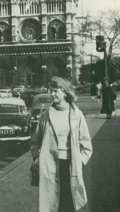 Sylvia Plath outside Notre Dame cathedral, Paris.