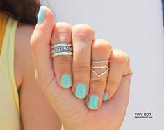 Silver Knuckle Ring Set of 4 Above the Knuckle Rings by TinyBox12, $16.95