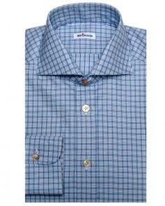 Image of Kiton Navy Tattersall Dress Shirt