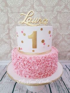 First Birthday Cake With Pink And Gold Theme