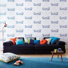 Scion - Dragonfly Wallpaper - NMEL110249 Emerald, Lime, Onyx and Chalk