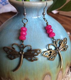 Big Dragonfly Earrings 316L Surgical Steel Bright Pink Agate Nature Spring  | eBay