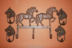 "Large 9 1//4/"" Cast Iron Bronco Western Cowboy Rider Plant Hanger Garden Decor"
