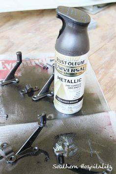 Rustoleum Oil rubbed bronze --> for all door knobs and brass ceiling fans!