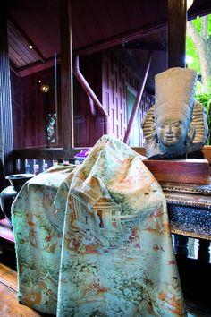 Jim Thompson fabric, 'Jim's Dream', at the Jim Thompson 'House on the Klong', Bangkok. Jim Thompson House, Jim Thompson Fabric, Bangkok, Fabric Covered Walls, Cameron Highlands, Textile Texture, Traditional Interior, Thai Style, Fabric Wallpaper