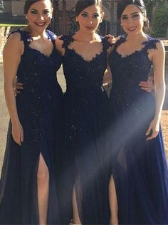 Hot-selling A-line Dark Navy Slit Long Chiffon Bridesmaid Dress with Appliques