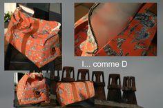 Très grand sac en toile de Jouy, cuir et polyester
