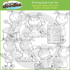 Writing Susie Line Art / Digital Stamps Download