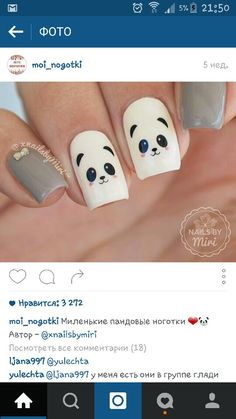 Nails Easy Panda Ideas nails is part of Pretty nails Dark Manicures - Pretty nails Dark Manicures Panda Nail Art, Animal Nail Art, Love Nails, Red Nails, Pretty Nails, Nails For Kids, Girls Nails, Trendy Nail Art, Easy Nail Art