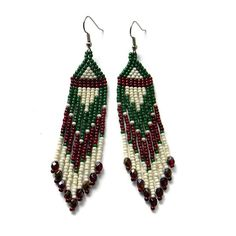 Long seed bead earrings  Green Brown and Cream  by Anabel27shop