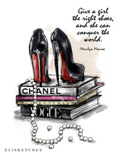Give a Girl the Right Shoes Printable Art by EliSketches on Etsy