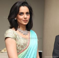 Kangana Ranaut in Embroidery Short Sleeves Saree Blouse – SareeBlouseFashion.com