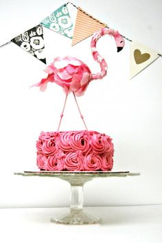 DIY a flamingo cake topper with this tutorial.