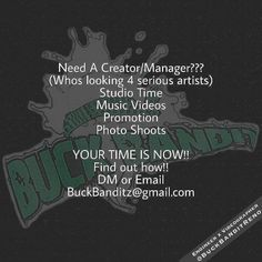 NEED A CREATOR/MANAGER LOOKING FOR SERIOUS ARTIST ONLY?? @buckbanditreno Studio Time Music Videos Promotion Photo Shoots DM OR EMAIL BuckBanditstudio@gmail.com #bbtvthemovement #mediatakeout #balleralert #hiphop #thesource #vh1#xxl #freestyle #philly #funny #empire #kevinhart #revolttv #djakademiks #wshh #shaderoom #thebreakfastclub #swayinthemorning #hot97 #power105 #power99 #blackinkcrewnyc #tmz #lhhh #lhhatl #thisis50