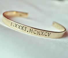 Roman Numeral Bracelet / Anniversary Gift / Personalized Hand Stamped Roman Numbers Bracelet / TBCO