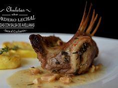 Receta Plato : Chuletas de cordero con salsa de avellanas por Sacaelcucharon