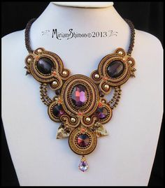 Soutache necklace in Dark Purple Gold Coffee and by MiriamShimon