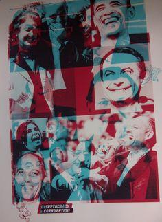 Crítica a políticos nacionales e internacionales: Barack Obama, José Luis Rodríguez Zapatero, Cristina Fernández de Kirchner, Francisco Camps, Rita Barberá...  http://rociocomunica.wordpress.com/2013/11/13/politica-y-sociedad-en-2-colores/