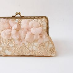 Glamour Blush Gold wedding Lace Silk Clutch Fall by LeelaPurse