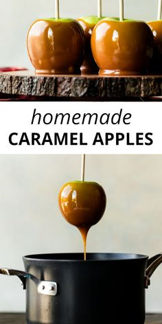 Home Made Doggy Foodstuff FAQ's And Ideas Learn How To Make Homemade Caramel Apples With Real Caramel. This Festive Fall And Halloween Dessert Is Always A Family Favorite Recipe On Carmel Apple Recipe, Caramel Apple Pops, Gourmet Caramel Apples, Salted Caramel Apple Pie, Apple Recipes, Apples With Caramel, Homemade Caramel Apples, Halloween Desserts, Halloween Halloween