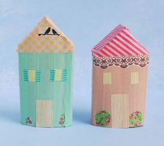 zakka life: Make a Washi Tape Village  Any guesses what I used for the base of these houses?  I'll give you a clue, you probably have one in your house right now.  If you guessed a paper roll, you're correct!  All you need is a few paper rolls and some washi tape to get started making your own village