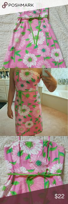Lilly Pulitzer size 2 pink sundress Pink sundress with flowers, scalloped top, green ribbon tie, strapless. Smoke-free home. Lilly Pulitzer Dresses Strapless