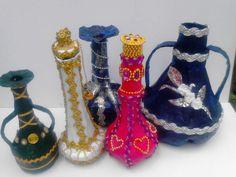 jarrones  floreros hechos con pet