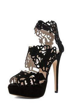 Charlotte Olympia Belinda Platform Bootie Sandal Heels in Black, with intricate cut-out details. Definitely a STATEMENT shoe Charlotte Olympia, Black Sandals, Black Shoes, Hot Shoes, Shoes Heels, Black Stilettos, Black Suede, Women's Shoes, Cheap Prom Shoes