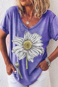 Paneled V-neck Daisy Print Short Sleeves Casual T-shirt - Shopingnova