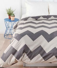 Chevron bedding... Want my room done in this :) -and then maybe have the walls this color, but also with a pop of a color too