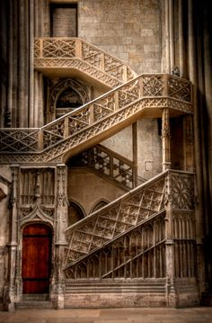"Stone staircase to Rouen Cathedral Library, France. ""Rouen Cathedral (French: Cathédrale Notre-Dame de Rouen) is a Roman Catholic Gothic cathedral in Rouen, in northwestern France. Stairway To Heaven, Architecture Antique, Architecture Cool, Beautiful Buildings, Beautiful Places, Beautiful Stairs, Beautiful Pictures, France Photos, Rouen"